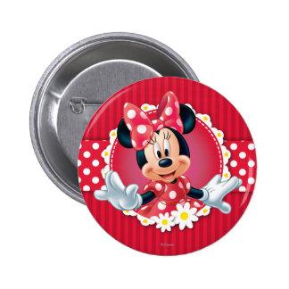 Marco rojo de la flor de Minnie el | Pin Redondo De 2 Pulgadas