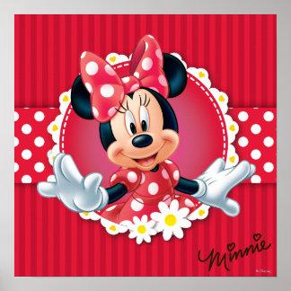 Marco rojo de la flor de Minnie el   Póster