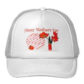 Marco rojo de la foto del tulipán por un día de ma gorras de camionero
