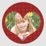 Marco rojo de la tela escocesa etiquetas redondas