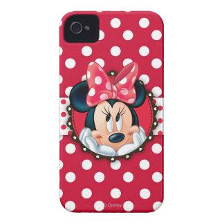 Marco rojo del lunar de Minnie el   Funda Para iPhone 4 De Case-Mate