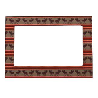 Marco rojo marrón rústico del imán de los alces marcos magnéticos de fotos