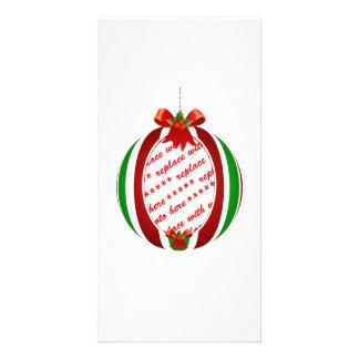 Marco rojo y verde de la foto del ornamento del na tarjeta con foto personalizada