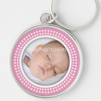 Marco rosado de la foto de la niña - el blanco pun llaveros