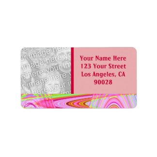 marco rosado de la foto de la onda etiqueta de dirección
