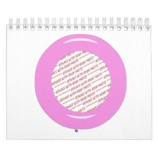 Marco rosado de la foto de la plantilla del anillo calendario de pared