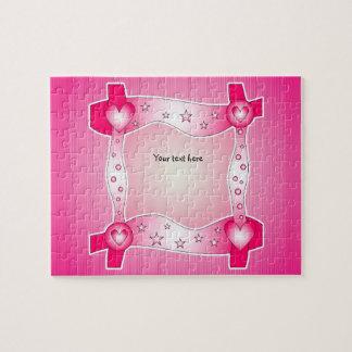 Marco rosado del corazón puzzle