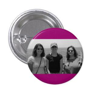 Marco rosado oscuro llano de la foto de Fuschia Pin Redondo De 1 Pulgada