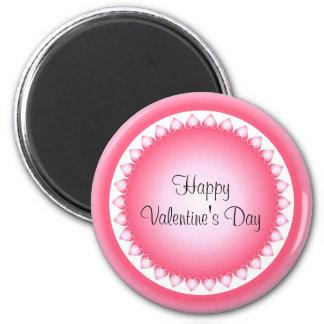 Marco rosado y blanco del corazón imán redondo 5 cm