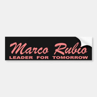 Marco Rubio: Leader for Tomorrow (pink and black) Car Bumper Sticker