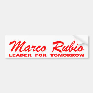 Marco Rubio: Leader for Tomorrow (red and white) Car Bumper Sticker
