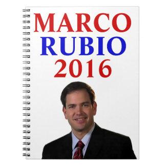 Marco Rubio para el presidente 2016 Libro De Apuntes Con Espiral