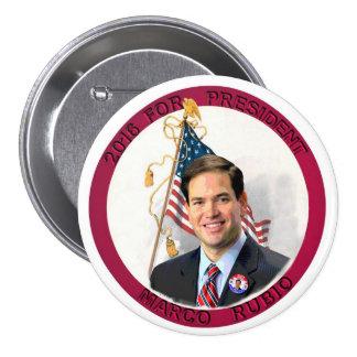 Marco Rubio para el presidente en 2016 Pin Redondo 7 Cm