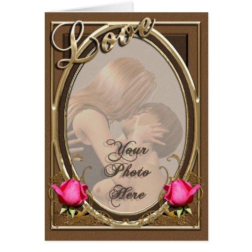Marco subió cuero de la foto del amor del tarjeta de felicitación