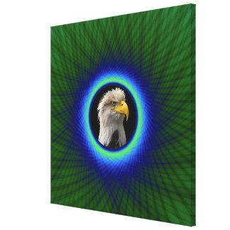 Marco tejido impresión de la lona en verde y azul impresiones en lienzo estiradas