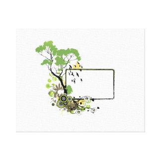 Marco un floral.png más simple del pájaro del árbo lienzo envuelto para galerias