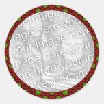 marco verde rojo de la foto del día de fiesta etiquetas