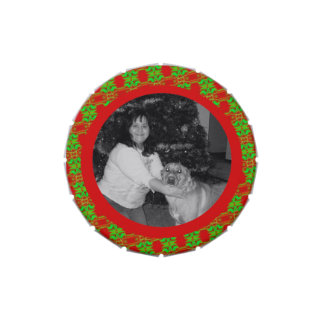 Marco verde rojo festivo de la foto del navidad latas de caramelos