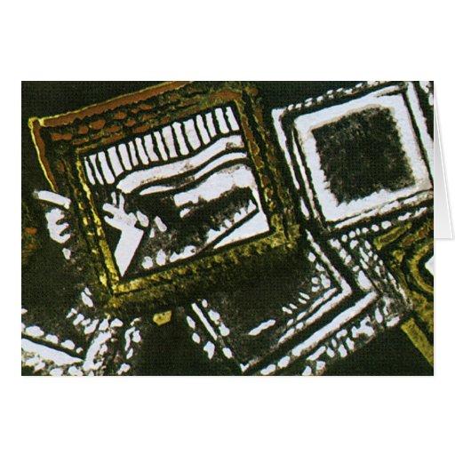 Marcos abstractos en aceituna tarjeta