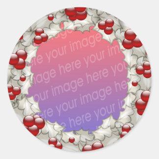 Marcos de la foto del navidad pegatina redonda