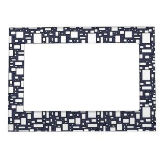Marcos geométricos azules del modelo del blanco marcos magnéticos de fotos