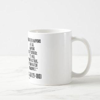 Marcus Aurelius Whatever Happens At All Happens Coffee Mug