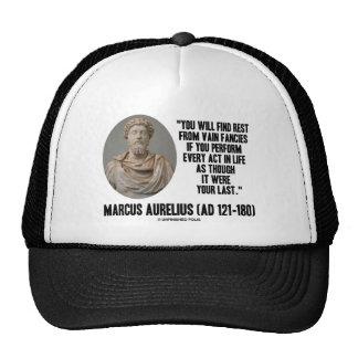 Marcus Aurelius You Will Find Rest Vain Fancies Mesh Hats
