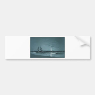 Marcus Larson entrance-to-harbor-moonlight-1881 mo Bumper Sticker