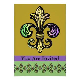 Mardi Fleur de Gras Invitación 12,7 X 17,8 Cm