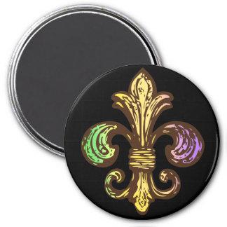 Mardi Fleur de Gras 3 Inch Round Magnet