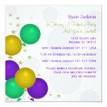 Mardi Gra Color Balloons Party Invitations