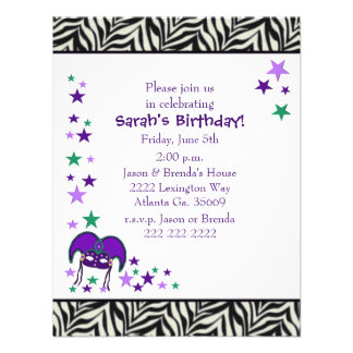 Mardi Gra Theme Birthday party Invitation