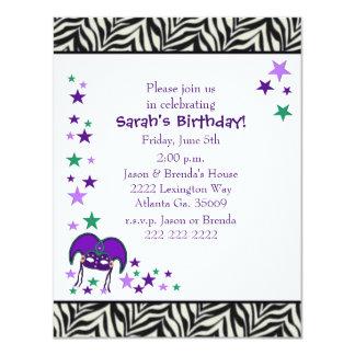 Mardi Gra Theme Birthday party Invitation