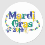 Mardi Gras 2010 beads bc Round Stickers