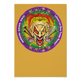 Mardi Gras 2011 Joker-V-3 5x7 Paper Invitation Card