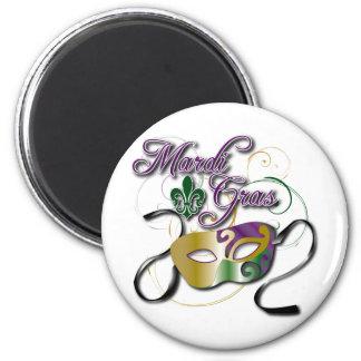 Mardi Gras 2 Inch Round Magnet