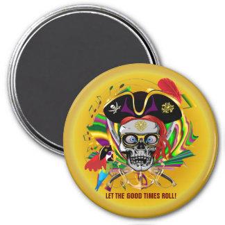 Mardi Gras 3 Inch Round Magnet