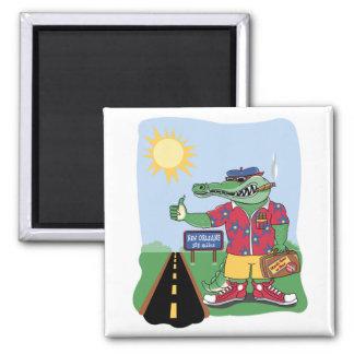 Mardi Gras Alligator 2 Inch Square Magnet