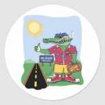 Mardi Gras Alligator Classic Round Sticker