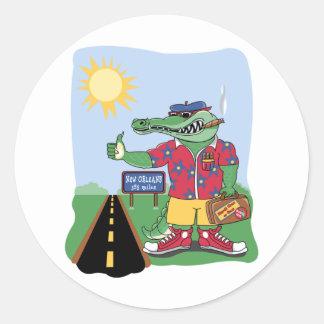 Mardi Gras Alligator Classic Round Sticker