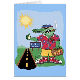 Mardi Gras Alligator Greeting Card