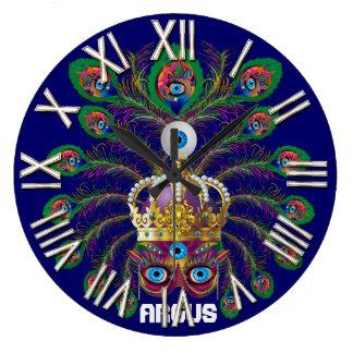 Mardi Gras Argos-Argus Eyes Important view notes Wall Clock