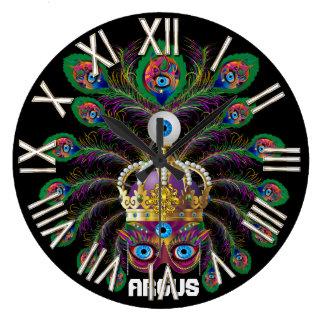 Mardi Gras Argos-Argus Eyes Important view notes Round Wall Clocks