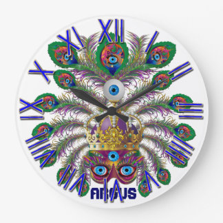 Mardi Gras Argos-Argus Eyes Important view notes Large Clock