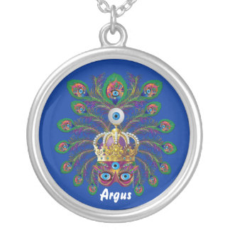 Mardi Gras Argos-Argus Eyes Important view notes Silver Plated Necklace