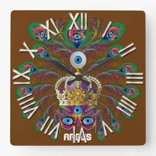 Mardi Gras Argos-Argus Eyes Important view notes Square Wall Clock