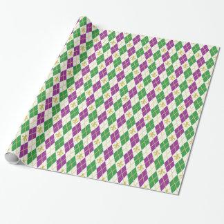 Mardi Gras Argyle Wrapping Paper