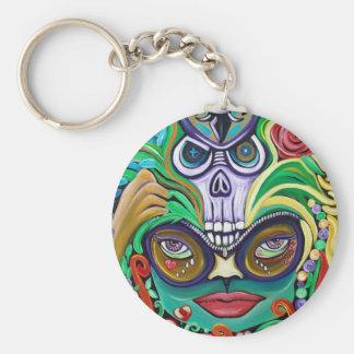 Mardi Gras Art Basic Round Button Keychain