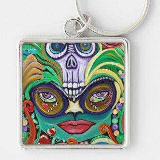 Mardi Gras Art Silver-Colored Square Keychain