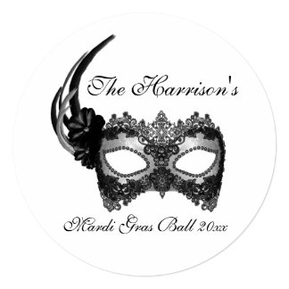 """""""Mardi Gras Ball"""" Feathered Mask In Black & Gray Card"""